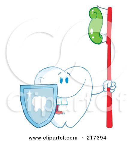 Royalty-Free (RF) Clipart Illustration of a Dental Tooth Character With A Shield And Red Tooth Brush by Hit Toon