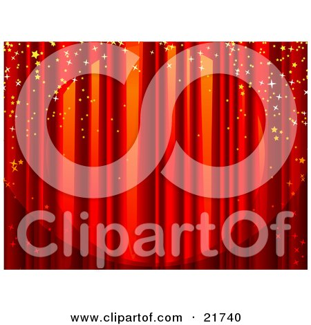 Clipart Picture Illustration of a Spotlight Shining On Closed Red Stage Curtains With Sparkling Confetti Falling Over The Stage by Tonis Pan