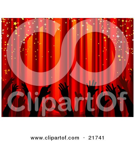 Clipart Picture Illustration Of Silhouetted Hands Waving In The Air Under Sparkling Confetti In Front Of Closed Red Stage Curtains