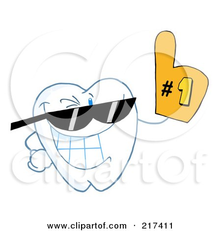 Royalty-Free (RF) Clipart Illustration of a Dental Tooth Character Wearing Shades And Wearing A Number One Fan Glove by Hit Toon