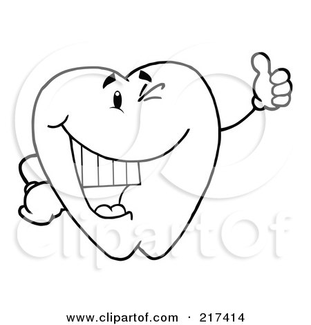 Royalty-Free (RF) Clipart Illustration of an Outlined Dental Tooth Character Winking And Holding A Thumb Up by Hit Toon