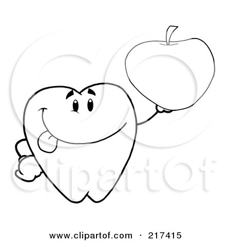 Royalty-Free (RF) Clipart Illustration of an Outlined Dental Tooth Character Holding An Apple by Hit Toon