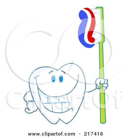 Royalty-Free (RF) Clipart Illustration of a Dental Tooth Character Holding A Toothbrush With Paste by Hit Toon