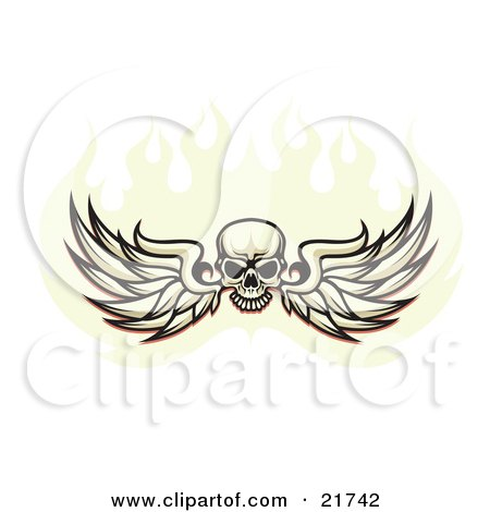 Clipart Illustration of a Human Skull Spanning Feathered Wings And Flying In A Ball Of Fire, On A White Background by Steve Klinkel