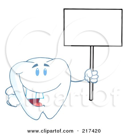 Royalty-Free (RF) Clipart Illustration of a Tooth Character Holding Up A Small Blank Sign by Hit Toon
