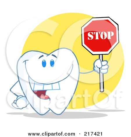 Royalty-Free (RF) Clipart Illustration of a Tooth Character Holding A Stop Sign Over A Yellow Circle by Hit Toon