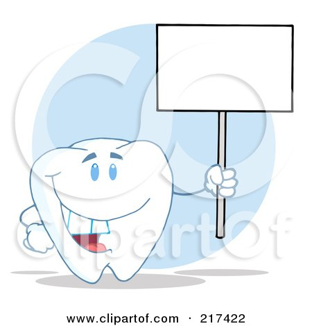 Royalty-Free (RF) Clipart Illustration of a Tooth Character Holding Up A Blank Sign On A Pole by Hit Toon