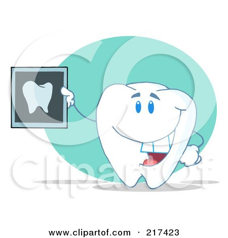 Royalty-Free (RF) Clipart Illustration of a Tooth Character Holding Up A Dental X Ray by Hit Toon