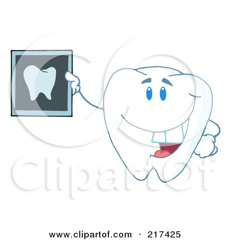 Royalty-Free (RF) Clipart Illustration of a Tooth Character Holding Up A Dental Xray by Hit Toon