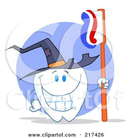 Royalty-Free (RF) Clipart Illustration of a Tooth Character Holding A Toothbrush And Wearing A Witch Hat by Hit Toon