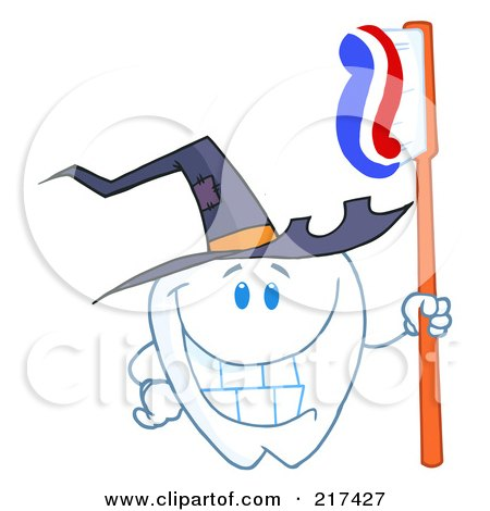 Royalty-Free (RF) Clipart Illustration of a Tooth Character Holding A Tooth Brush And Wearing A Witch Hat by Hit Toon