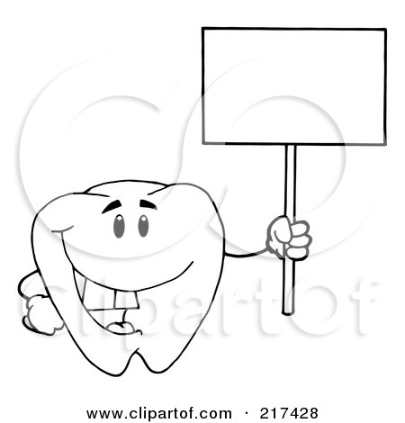 Royalty-Free (RF) Clipart Illustration of an Outlined Tooth Character Holding Up A Small Blank Sign by Hit Toon