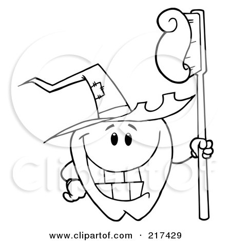 Royalty-Free (RF) Clipart Illustration of an Outlined Tooth Character Holding A Tooth Brush And Wearing A Witch Hat by Hit Toon