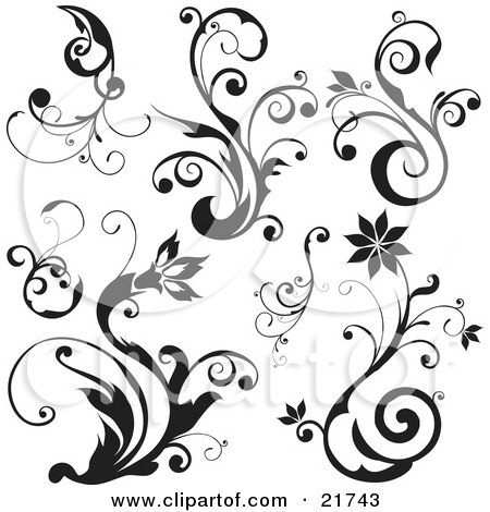 Blooming Flowers And Plants With Scrolls Posters, Art Prints