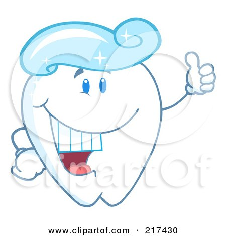 Royalty-Free (RF) Clipart Illustration of a Tooth Character With A Tooth Paste Wig, Holding A Thumb Up by Hit Toon