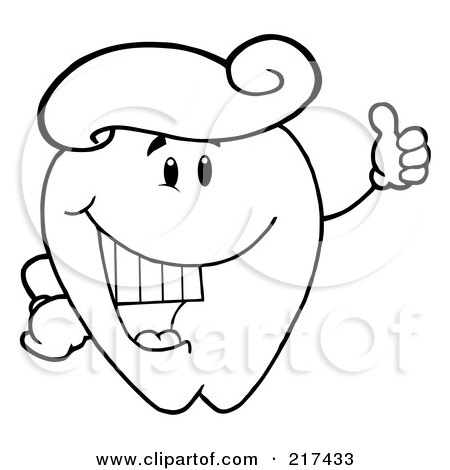 Royalty-Free (RF) Clipart Illustration of an Outlined Tooth Character With A Tooth Paste Wig, Holding A Thumb Up by Hit Toon