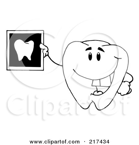 Royalty-Free (RF) Clipart Illustration of an OutlinedTooth Character Holding Up A Dental Xray by Hit Toon