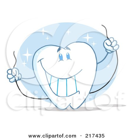 Royalty-Free (RF) Clipart Illustration of a Tooth Character Holding Floss by Hit Toon