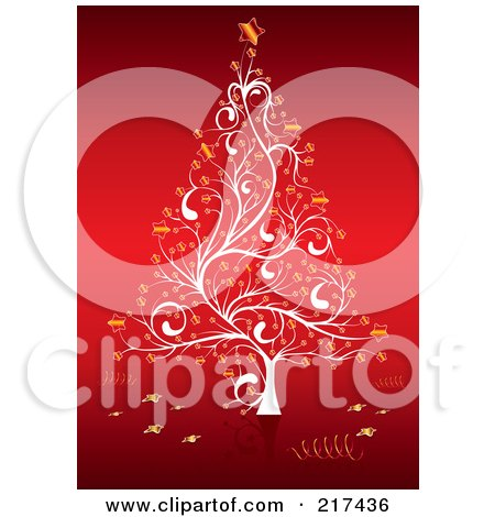 Royalty-Free (RF) Clipart Illustration of an Ornate White Christmas Tree With Golden Stars On Red by MilsiArt