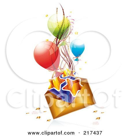 Royalty-Free (RF) Clipart Illustration of a Golden Birthday Envelope With Stars, Ribbons And Balloons, On White by MilsiArt