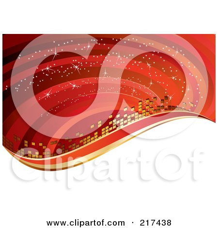 Royalty-Free (RF) Clipart Illustration of a Gradient Red Background Of Waves, Sparkles And Golden Tiles Above White by MilsiArt
