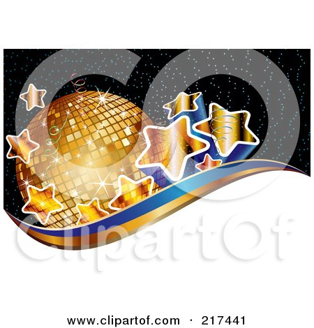 Royalty-Free (RF) Clipart Illustration of Gradient Golden Stars By A Disco Ball Above White, Gold And Blue Waves On Black by MilsiArt
