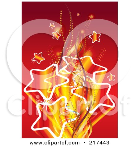 Royalty-Free (RF) Clipart Illustration of a Burst Of Gradient Stars With Ribbons And Waves On Red by MilsiArt