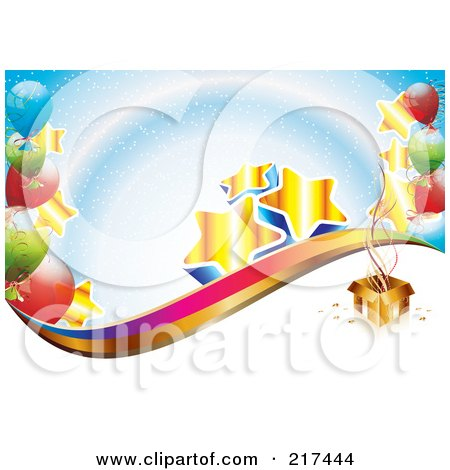 Royalty-Free (RF) Clipart Illustration of Golden Stars And Colorful Balloons By A Gift Box, Over Blue And White by MilsiArt