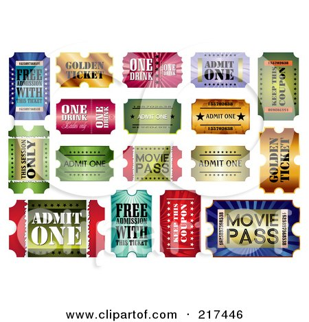 Royalty-Free (RF) Clipart Illustration of a Digital Collage Of Shiny Admit One Tickets by MilsiArt