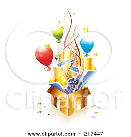 Royalty-Free (RF) Clipart Illustration of a Golden Birthday Gift Box With Balloons, Ribbons And Stars by MilsiArt
