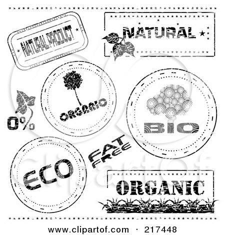 Royalty-Free (RF) Clipart Illustration of a Digital Collage Of Black And White Bio, Eco And Organic Stamp Designs by MilsiArt