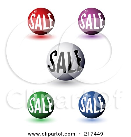 Royalty-Free (RF) Clipart Illustration of a Digital Collage Of 3d Colorful Sale Orbs With Shadows by MilsiArt
