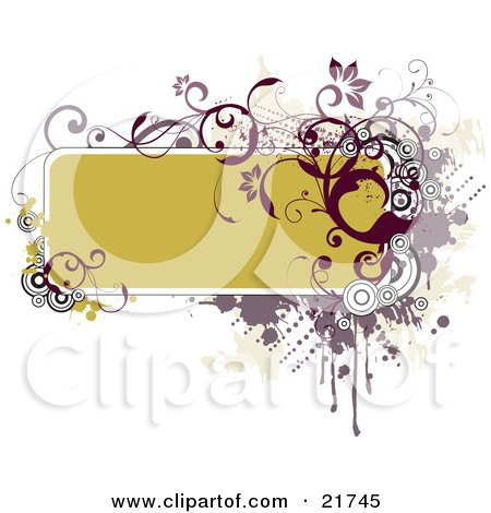 Clipart Picture Illustration of a Green-Yellow Text Box Bordered With Red And Purple Circles, Vines, Dots And Splatters Over A Green And White Background by OnFocusMedia