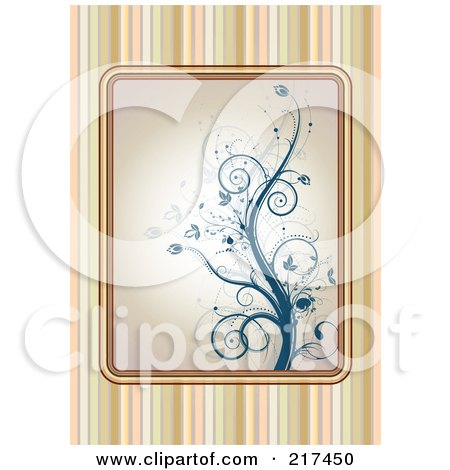 Royalty-Free (RF) Clipart Illustration of a Striped Background With A Blue Floral Vine by MilsiArt