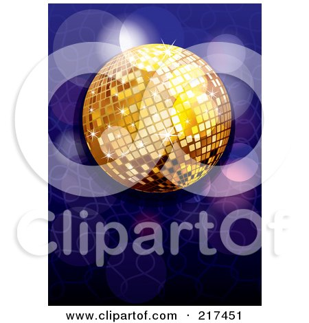 Royalty-Free (RF) Clipart Illustration of a Shiny Gold Disco Ball With Purple And Blue Sparkles by MilsiArt