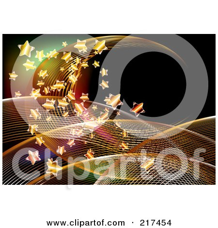 Royalty-Free (RF) Clipart Illustration of a Background Of Mesh Swooshes And Golden Stars On Black by MilsiArt