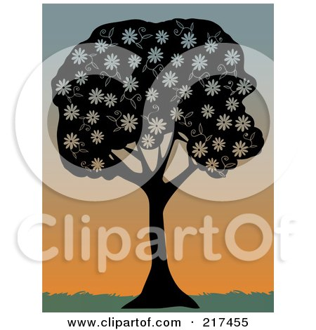 Royalty-Free (RF) Clipart Illustration of a Silhouetted Black Tree With White Spring Blossoms Against A Sunset by mheld