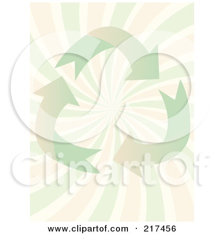 Royalty-Free (RF) Clipart Illustration of a Pastel Green Recycle Arrows Over Pink And Green Swirls by mheld