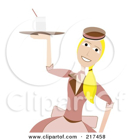 Royalty-Free (RF) Clipart Illustration of a 50s Styled Waitress Carrying A Drink On A Tray by mheld