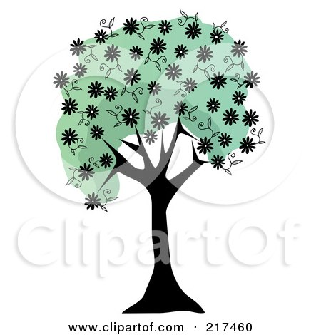 Royalty-Free (RF) Clipart Illustration of a Black Tree Trunk With Green Foliage And Black Spring Blossoms by mheld