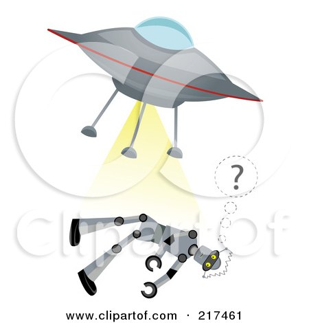 Royalty-Free (RF) Clipart Illustration of a Flying Saucer Beaming Up A Confused Robot by mheld