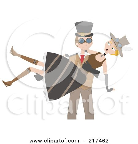 Royalty-Free (RF) Clipart Illustration of a Steampunk Man Carrying A Woman In His Arms by mheld