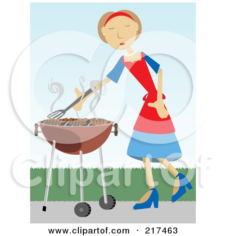 Royalty-Free (RF) Clipart Illustration of a Woman Cooking Beef Patties On A Bbq by mheld