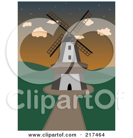 Royalty-Free (RF) Clipart Illustration of a Path Leading To A Windmill At Sunset by mheld