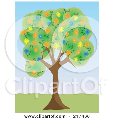 Royalty-Free (RF) Clipart Illustration of a Tree With Green Foliage And Colorful Spring Blossoms In A Park by mheld