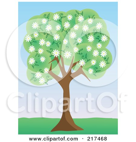 Royalty-Free (RF) Clipart Illustration of a Tree With Green Foliage And White Spring Blossoms In A Park by mheld