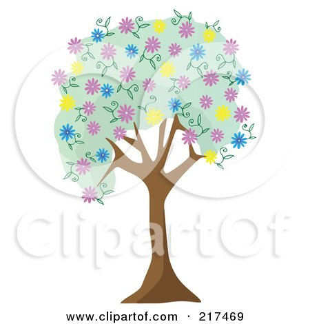 Royalty-Free (RF) Clipart Illustration of a Tree With Green Foliage And Colorful Spring Blossoms by mheld