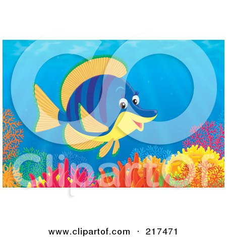 Royalty-Free (RF) Clipart Illustration of a Striped Blue And Orange Tropical Fish Swimming Over A Coral Reef by Alex Bannykh