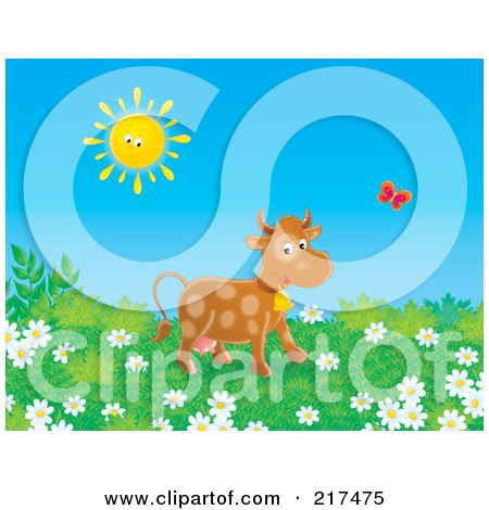 Royalty-Free (RF) Clipart Illustration of a Happy Cow Following A Butterfly In A Field Of Wildflowers by Alex Bannykh