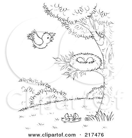 Royalty-Free (RF) Clipart Illustration of a Coloring Page Outline Of A Bird Flying Towards A Nest by Alex Bannykh